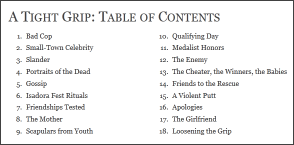 Read the Table of Contents for A Tight Grip